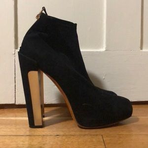 Brian Atwood Black Suede Gold Heeled Boots